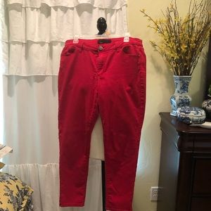 Red light stretch denim pants